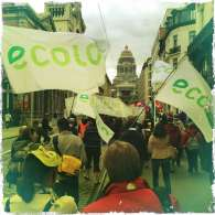Ecolo flags at ACTA demonstration