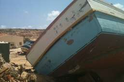 Abandoned migrant boat in Lampedusa