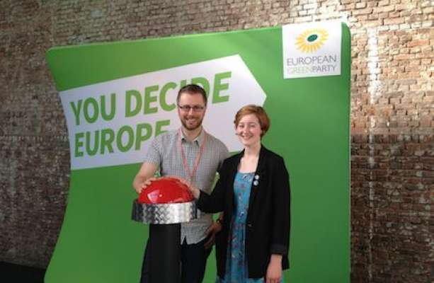 Chairman of the Green Party of Ireland Roderic O'Gorman, and Molly McKeagney, who cast the first vote in the Green Primary