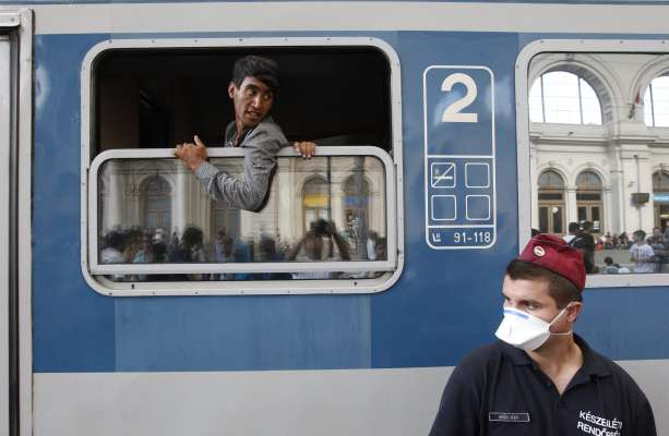A refugee hoping to leave for Vienna on the train in Budapest Keleti station