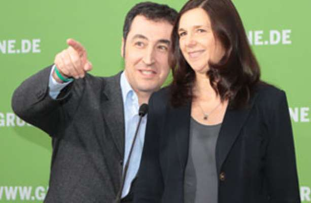 Cem Özdemir and Katrin Göring-Eckardt celebrate the best ever result for the Greens in Lower Saxony photo:. Gruene.de