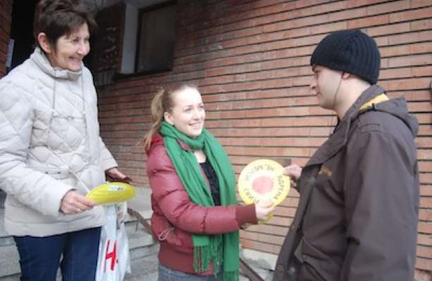Marina Dragomiretzkaya during the campaign against the Belene nuclear power plant